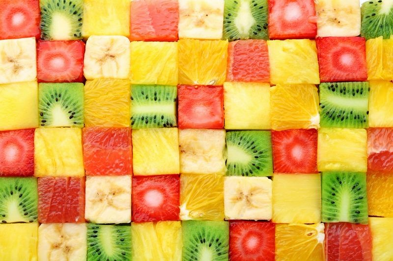 3D Фотообои «Сочные фруктовые кубики»<br>kit: None; gender: None;