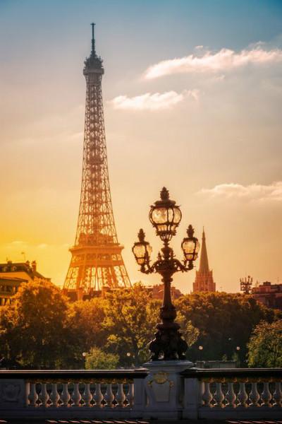 """Фотообои """" 3D Фотообои «Солнце на закате. Париж»"""""""