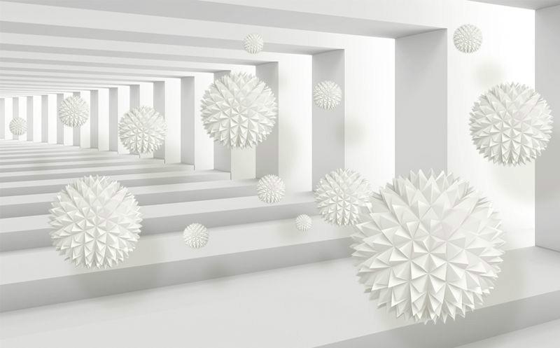 3D Фотообои «Колючие шары в тоннеле»<br>kit: None; gender: None;