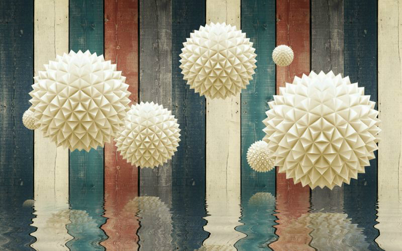 3D фотообои «Колючие шары на древесном фоне» вид 1