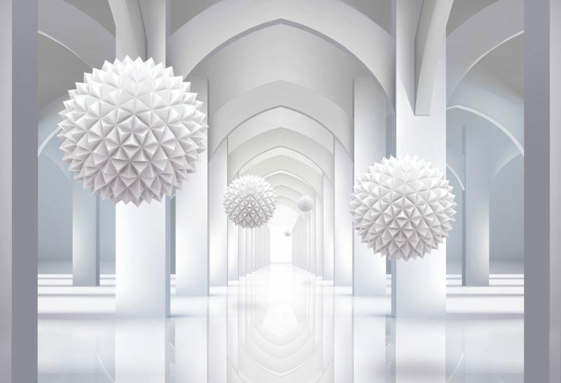 3D фотообои «Объемная инсталляция в арочном тоннеле» вид 1