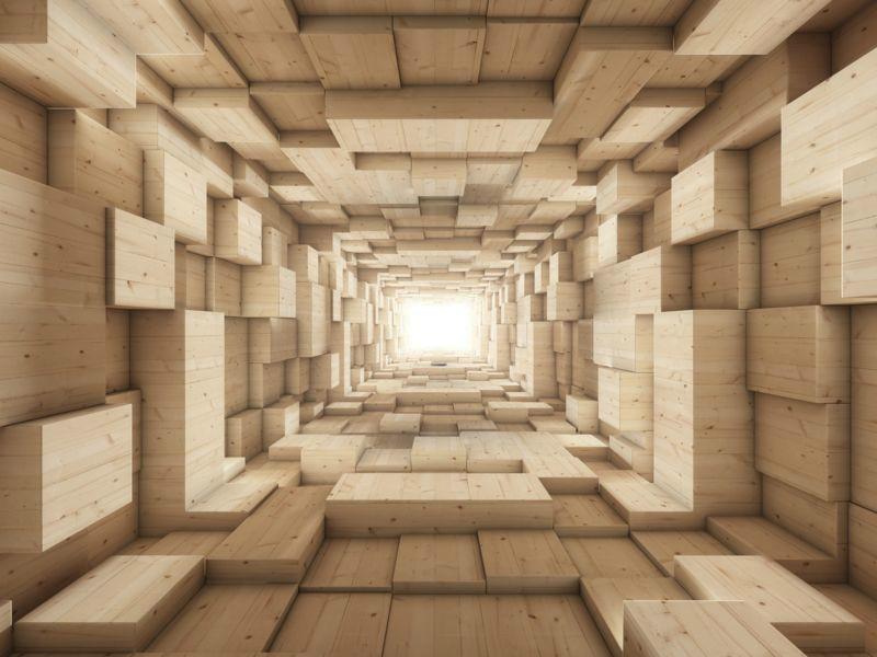 3D Фотообои «Тоннель из деревянных кубов»<br>kit: None; gender: None;
