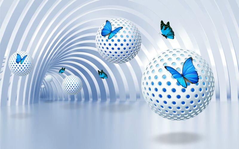 3D фотообои «Футуристичный тоннель с бабочками» вид 1
