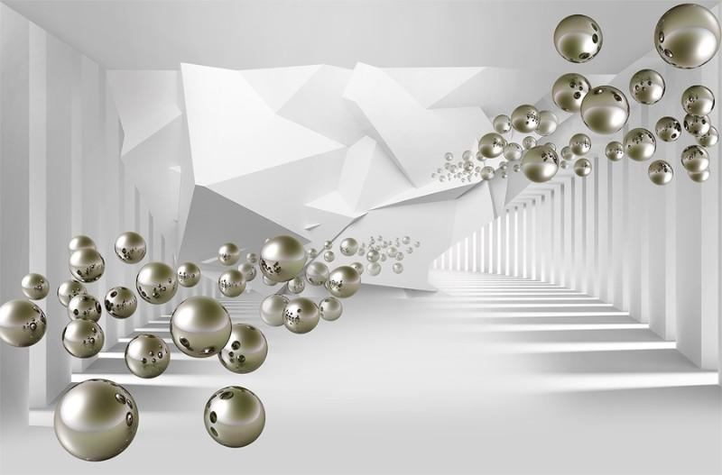 3D фотообои «Абстракция с пузырями» вид 1
