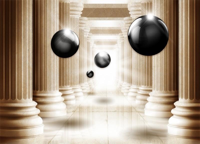 3D Фотообои «Черный жемчуг среди античных колонн»<br>kit: None; gender: None;