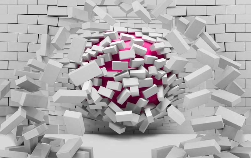 3D Фотообои «Шар разламывающий кирпичную стену»<br>kit: None; gender: None;