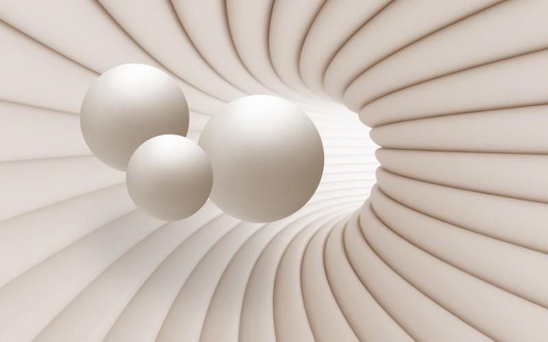 3D Фотообои «Шары в тоннеле»<br>kit: None; gender: None;