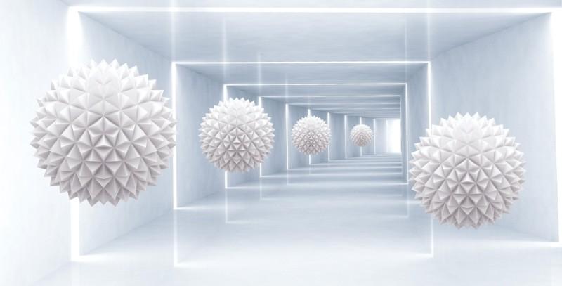 3D Фотообои «Шары оригами в светлом тоннеле»<br>kit: None; gender: None;
