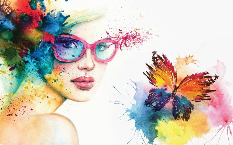 3D Фотообои «Девушка с бабочкой»<br>kit: None; gender: None;