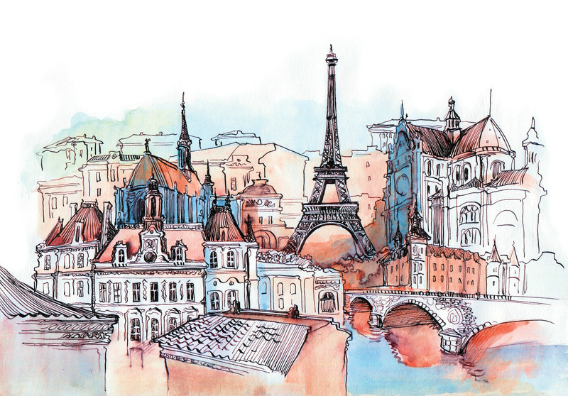 3D фотообои «Париж акварелью» вид 1