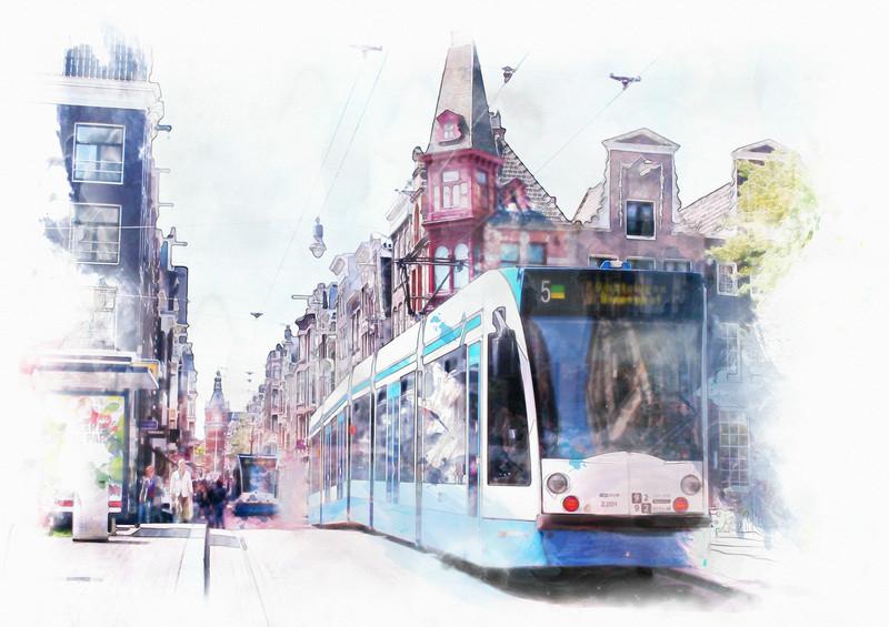 3D Фотообои «Европейский трамвай»<br>kit: None; gender: None;