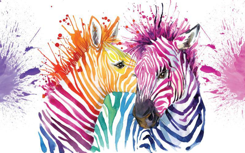 3D Фотообои «Акварельные зебры»<br>kit: None; gender: None;