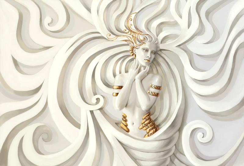 3D Фотообои «Барельеф девушка с золотом»<br>kit: None; gender: None;