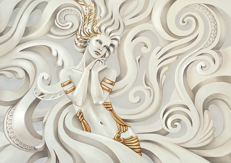 3D Фотообои «Мечтающая богиня»<br>kit: None; gender: None;