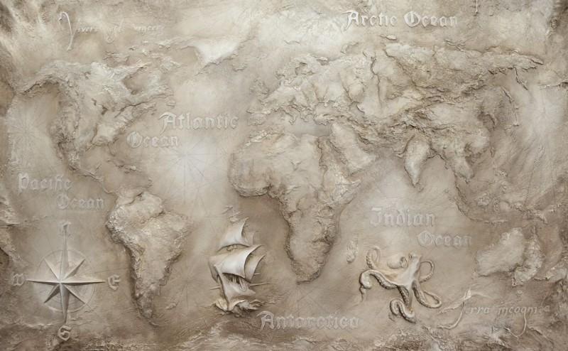 3D фотообои «Барельеф карта мира» вид 1