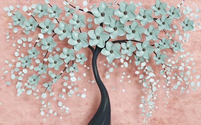 3D фотообои «Объемное цветущее дерево» вид 1
