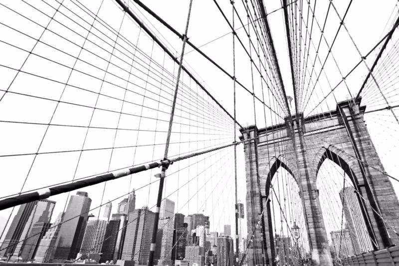 """Фотообои """"3D Фотообои «Бруклинский мост черно белый»"""""""