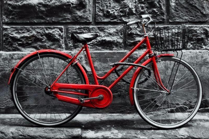 3D Фотообои «Красный велосипед у стены»<br>kit: None; gender: None;