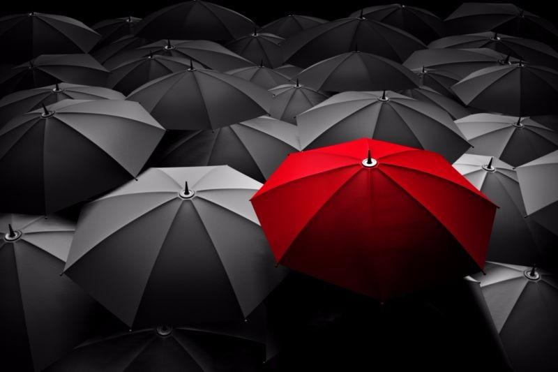 3D Фотообои «Красный зонт»<br>kit: None; gender: None;