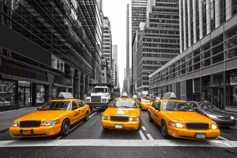 3D Фотообои «Такси в Нью-Йорке»<br>kit: None; gender: None;