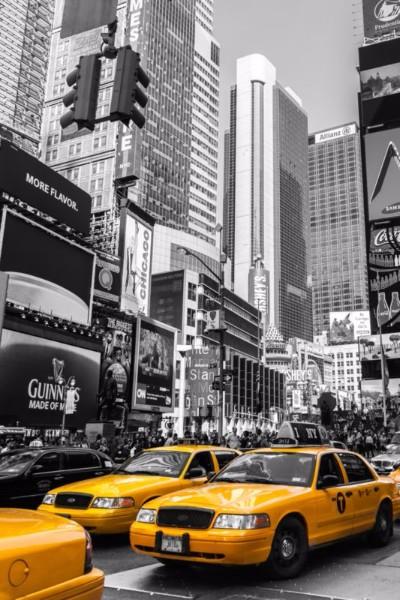 3D Фотообои «Такси Нью-Йорк Таймс Сквер»<br>kit: None; gender: None;