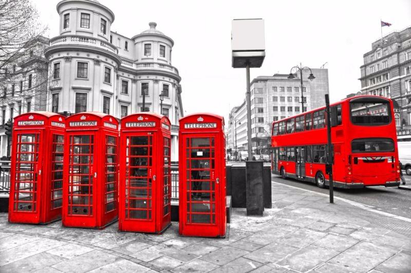 3D Фотообои «Телефонные будки в Лондоне»<br>kit: None; gender: None;