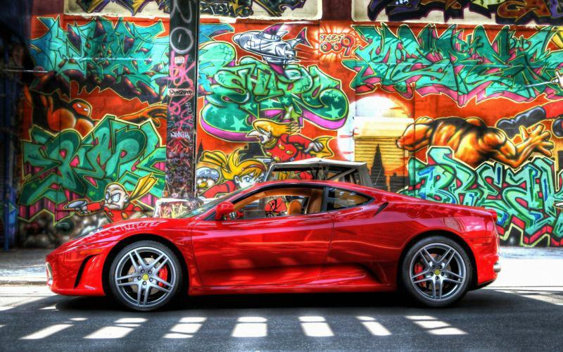 3D Фотообои «Красный автомобиль на фоне граффити»<br>kit: None; gender: None;