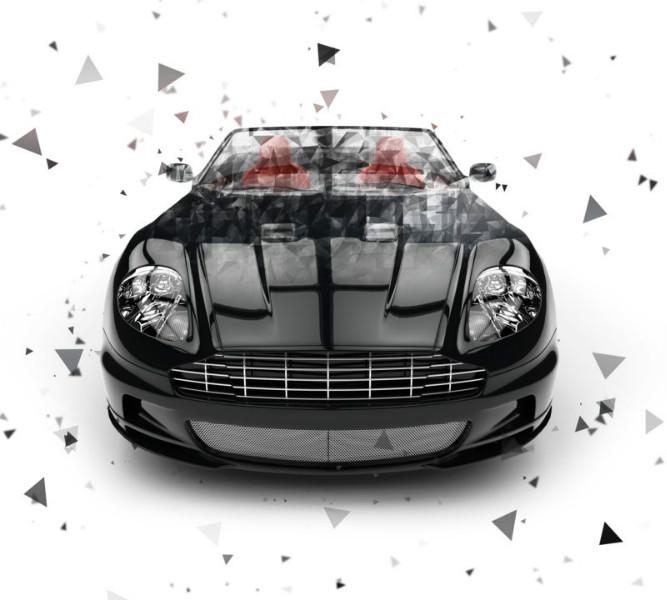 3D Фотообои «Роскошный черный автомобиль с полигонами»<br>kit: None; gender: None;
