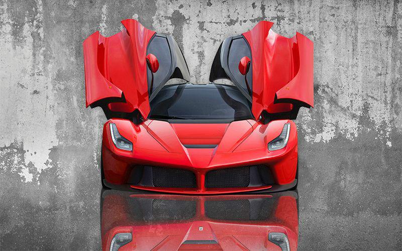 3D Фотообои «Красное авто на бетонном фоне»<br>kit: None; gender: None;