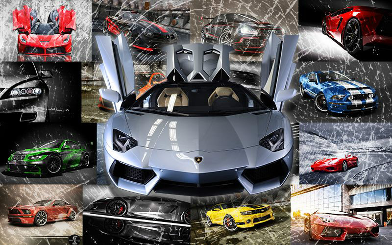 3D Фотообои «Коллаж из спортивных машин»<br>kit: None; gender: None;