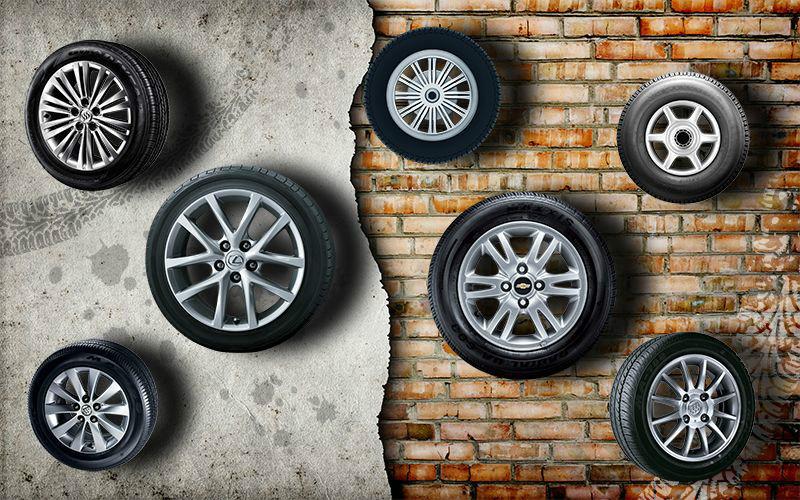 3D Фотообои «Коллекция колес»<br>kit: None; gender: None;