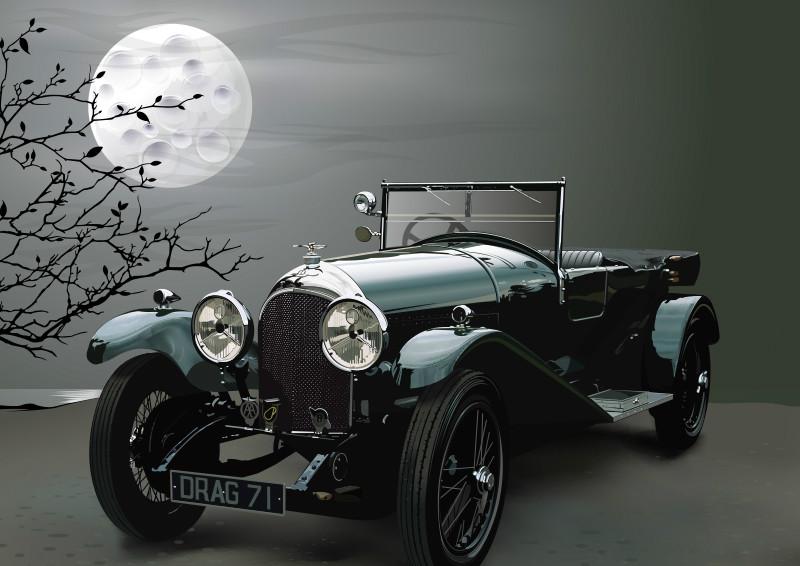 3D Фотообои «Раритетный кабриолет под полной луной»<br>kit: None; gender: None;