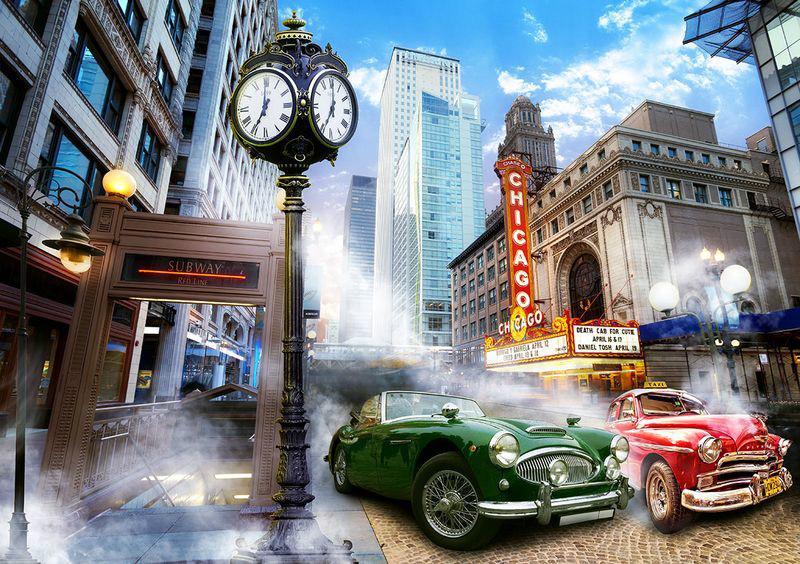 3D Фотообои «Старинный Чикаго»<br>kit: None; gender: None;
