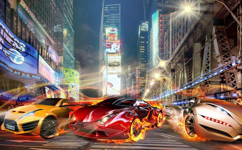 3D Фотообои «Тачки с пылающими колесами на фоне Таймс Сквер»<br>kit: None; gender: None;