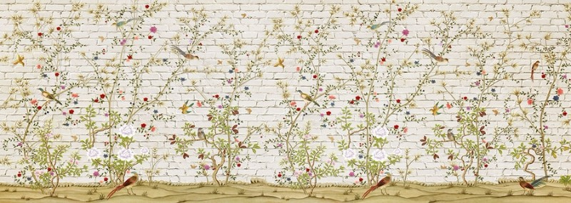 3D Фотообои «Ветви с птицами на кирпичной стене»<br>kit: None; gender: None;