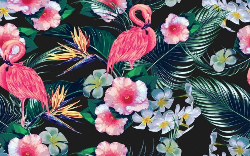3D Фотообои «Тропическая композиция с фламинго»<br>kit: None; gender: None;