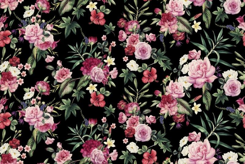 3D Фотообои «Акварельные цветы на темном фоне»<br>kit: None; gender: None;