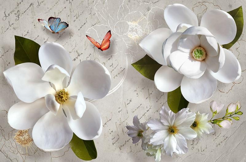 3D Фотообои «Белые цветы»<br>kit: None; gender: None;