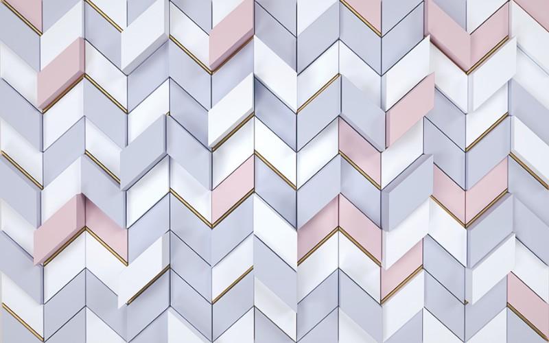 3D фотообои «Трехцветная геометрия» вид 1