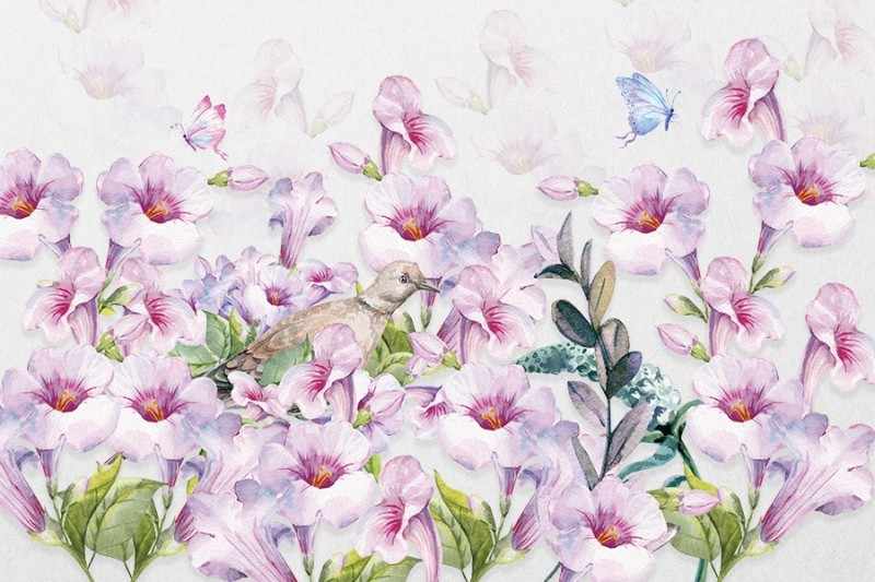 3D фотообои «Сиреневые петунии с бабочками» вид 1