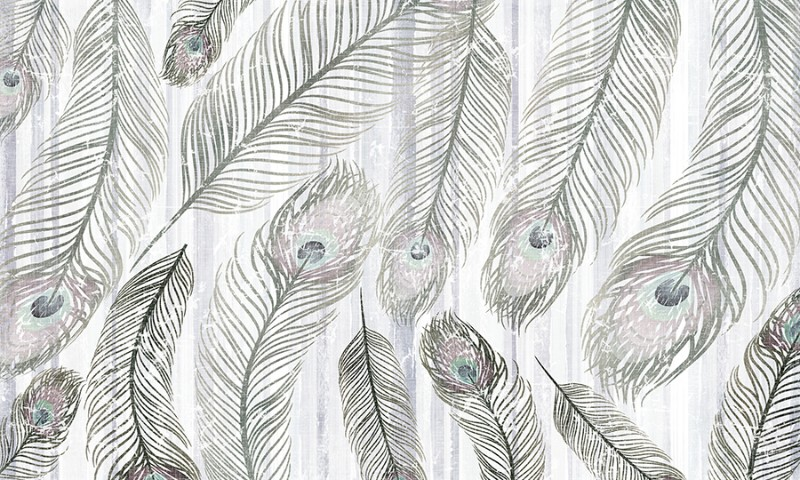 3D фотообои «Винтажные перья» вид 1