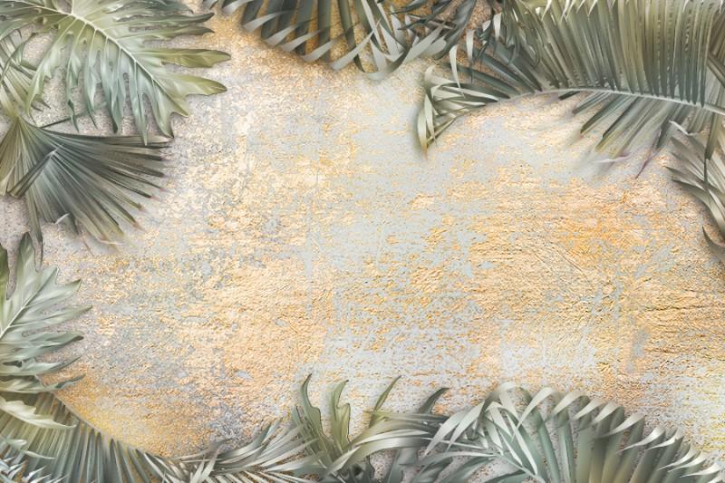 3D фотообои «Пальма на золотой штукатурке» вид 1