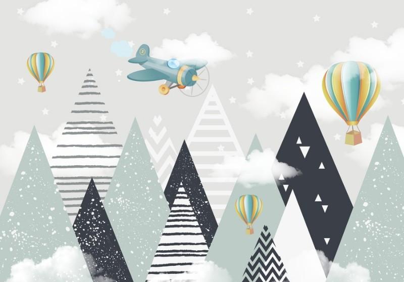 3D фотообои Фотообои «Геометрические горы с воздушными шарами» вид 1