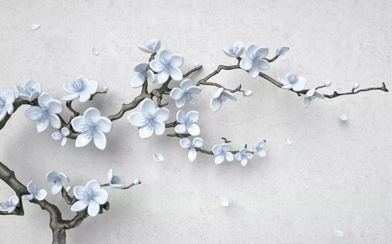 3D фотообои «Голубая сакура» вид 1