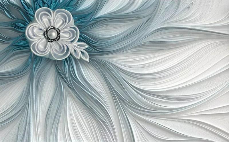 3D фотообои «Шелк цвета морской волны» вид 1