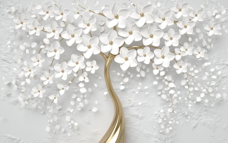 3D фотообои 3D Фотообои  «Объемное золотое дерево» вид 1
