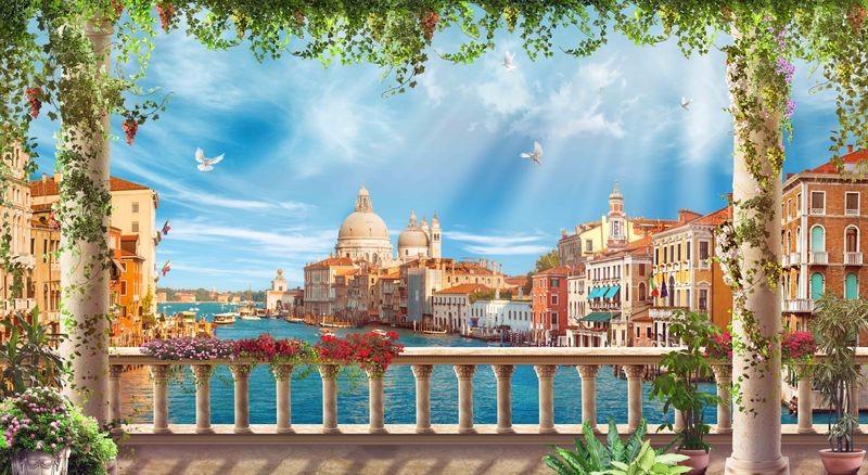 3D Фотообои «Венецианская терраса»<br>kit: None; gender: None;