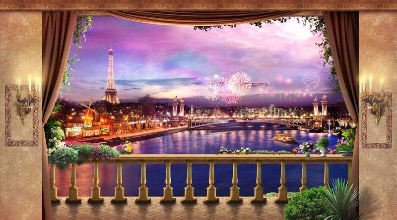 3D Фотообои «Терраса в праздничном париже»<br>kit: None; gender: None;