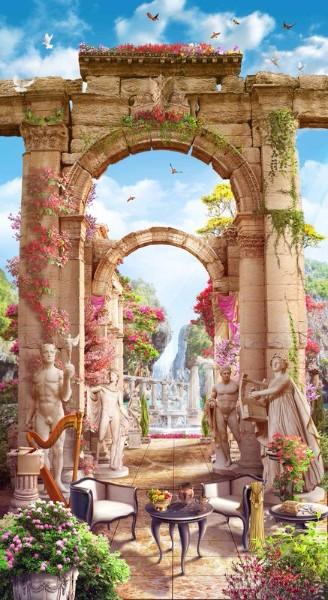 3D Фотообои «Античные арки со скульптурами»<br>kit: None; gender: None;