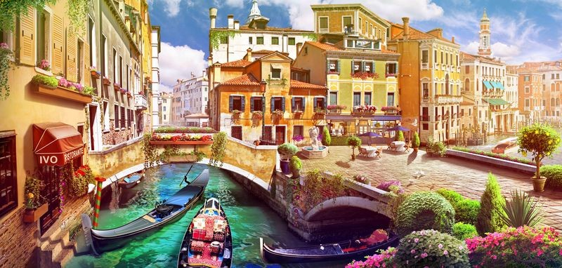 3D Фотообои «Цветущая Венеция»<br>kit: None; gender: None;